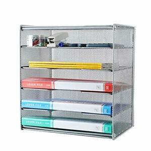 Samstar Paper Letter Tray Metal Desk File Organizer With 5 Tier Shelf And Sor
