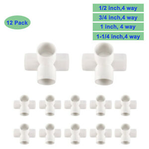 12pcs 4 way Pvc Fitting Elbows Corner Side Outlet Tee Heavy Duty Pvc Furniture
