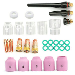31pcs Tig Welding Torch Accessories Kit Lens Pyrex Glass Cup For Wp 17 18 26