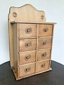 Old Antique Wood 8 Joint Drawers Wall Or Table Spice Cabinet Unique Fun Feature