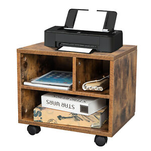 Mobile Lateral Filing Cabinet W 3 Open Compartments Wooden Storage File Cabinet