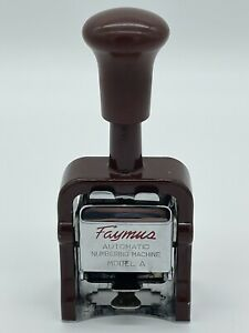 Faymus Numbering Machine Vintage Model A 6 Numbers Metal Automatic Japan Made