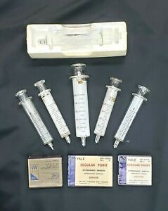 Vintage Set Of 6 Glass Syringes With 3 Boxes Of Hypodermic Needles