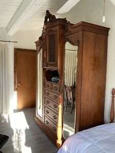 Wardrobe Antique French Armoire Closet And Beveled Mirror Cabinets Drawers