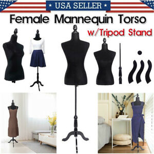 Commercial Female Mannequin Torso W tripod Stand Dress Clothing Form Display Us