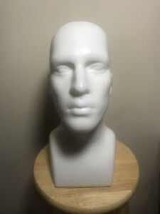 Plastic Tabletop White Male Adult Mens Mannequin Head Display Pre owned
