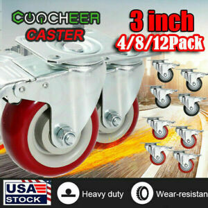 4 8 12 X 3 Rubber Casters Heavy Duty Safety Brake Wheels For Wire Shelving Rack