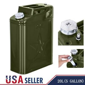 5 Gallon 20l Fuel Gas Gasoline Steel Tank Green Off Road Atv Pack Oil Containers