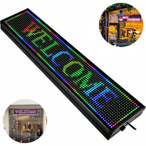 Full Color P10 Led Sign 40 X 8 Inch Programmable Scrolling Message Display