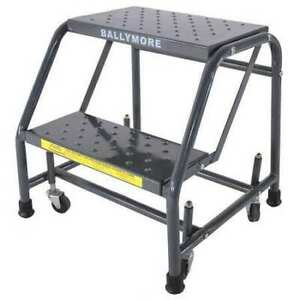 Ballymore 218p 19 In H Steel Rolling Ladder 2 Steps 450 Lb Load Capacity