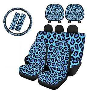 Leopard Car Seat Covers Full Set Front Rear Seat Protector Seat Belt Headrest
