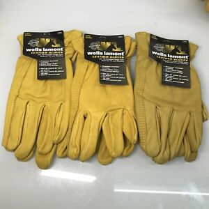 Wells Lamont Premium Leather Work Gloves 3 Pair Pack Large Extra Wear Palm