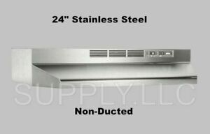 24 Over The Stove Range Hood Stainless Steel Kitchen Exhaust Fan Non ducted