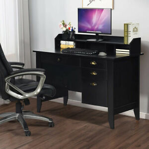 Auxsoul Computer Desk With 4 Drawers Hutch Shelf Spacious Student Writing Desk