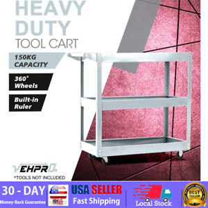 3 Tier Utility Tool Cart Dolly Trolley Rolling Shelves Silver