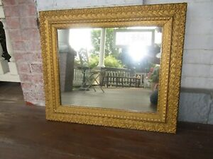 Antique Victorian Gold Ornate Framed Mirror Beautiful 26 X 23