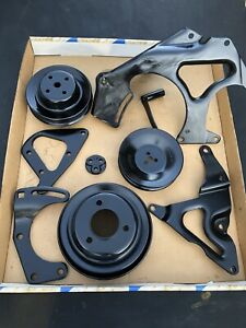 1989 Chevy 454 Smog Engine Brackets Complete Front Of Motor Exhaust Manifolds