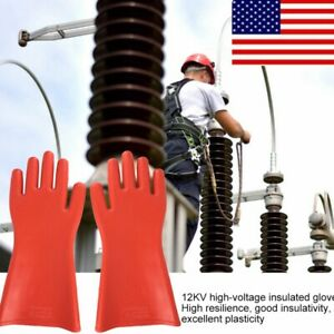 Insulated 12kv High Voltage Electrical Insulating Gloves For Electrician Safety