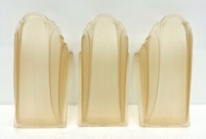 Set Of 3 Vtg Frosted Glass Slip Shade Lamp Sconces Deco Wall Or Chandelier