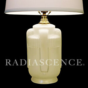Art Deco Streamline Frosted Glass Buttress Sculpture Table Lamp 1930 Lalique
