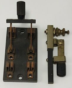2 Antique Vintage Trumbull Electric Knife Switch Steampunk Lot