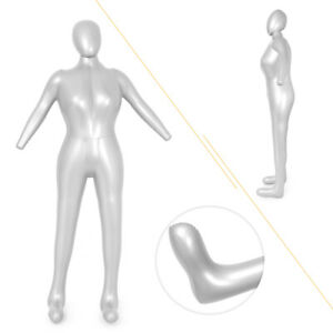 Full Body Inflatable Mannequin Dummy Torso Display Model Woman Female Pvc Silver