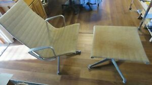 Vintage Eames Bros Herman Miller Aluminum Fabric Covered Lounge Chair Ottoman