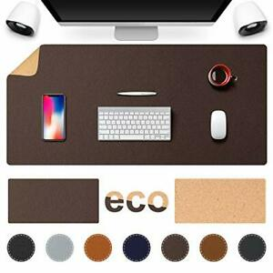 Tesobi Large Natural Cork Leather Desk Pad Double sided Desk Protector Smoo
