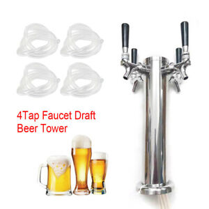 4 Tap Faucet Draft Beer Tower Homebrew Bar 304 Stainless Steel For Kegerator New