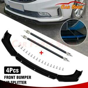 4pcs Front Bumper Lip Chin Spoiler Body Kit Mounting Brackets For Acura Ilx