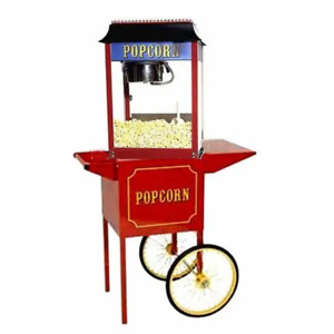 Red Paragon 1911 4 Ounce Popcorn Machine And Antique Cart Combo