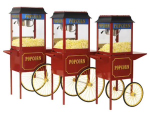 Red Paragon 1911 6 Ounce Popcorn Machine And Antique Cart Combo