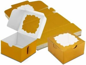 50 Pack Bakery Boxes With Window Pastry Dessert Treat Gold