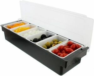 Ice Cooled Condiment Serving Container Chilled Garnish Tray Bar Caddy Black