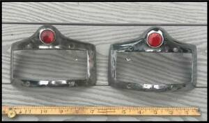 Vintage 1950 1952 Plymouth Tail Light Bezel Pair Deluxe Coupe Convertible 1951