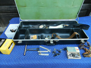 Vtg Compound Bow Archery Parts Tools in Proteco Kaddy Case Fred Bear Belt Buckle $149.99