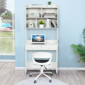 31 5in Standing Home Office Desk With Bookcase workstation Teen Study Desk