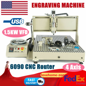 4 Axis 1 5kw Vfd 6090 Cnc Router Engraver Woodwork Usb Milling Carving Machine