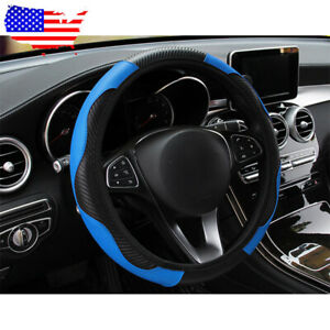 Us Black Blue 14 15 Car Pu Leather Steering Wheel Covers Carbon Fiber Style
