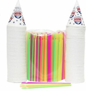 200 Snow Cone Cups 6 Oz And 200 Spoon Straws Assorted Sizes New Free Ship