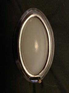 Nos 1930s Oval Milk Glass Chrome Dome Light Courtesy Lamp With Switch Car Truck