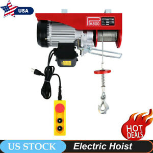 1760lbs Electric Hoist Winch Lifting Engine Crane Lift Hook Hanging Cable Pulley