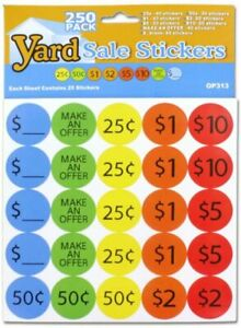 250 Pack Of Yard Sale Stickers Yard Sale Pricing Stickers 1