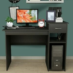 Black Home Office Computer Desk With Monitor Stand And Drawer clearance