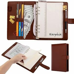 A5 6 Ring Brown Binder Planner Refillable A5 Journal Personal Planner Cover Pu