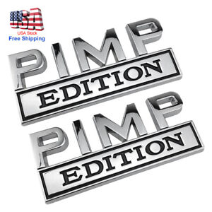 2pcs Pimp Edition Emblem Decal Badges Stickers Fits Ford Chevy Car Truck Usa