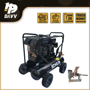 6 5hp Gas Driven Air Compressor 20 gal 17cfm 125psi For Workshop W Free Nailer