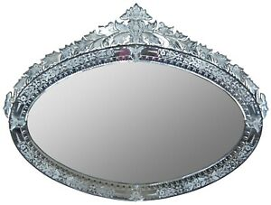 20th Century Venetian Etched Glass Ornate Oval Vanity Wall Mirror 50