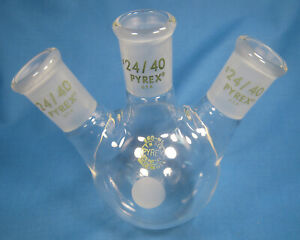 Pyrex 250 Ml Round Bottom 3 neck Flask All 24 40 Free Shipping F 4