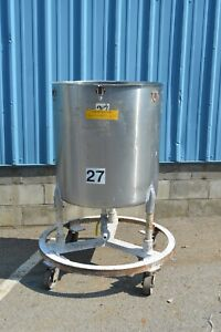 80 Gallon Stainless Steel Mixing Tank Bottom Outlet On Casters
